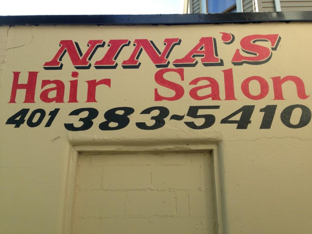 """""""NINA'S Hair Salon / 401388~5410"""" sign"""