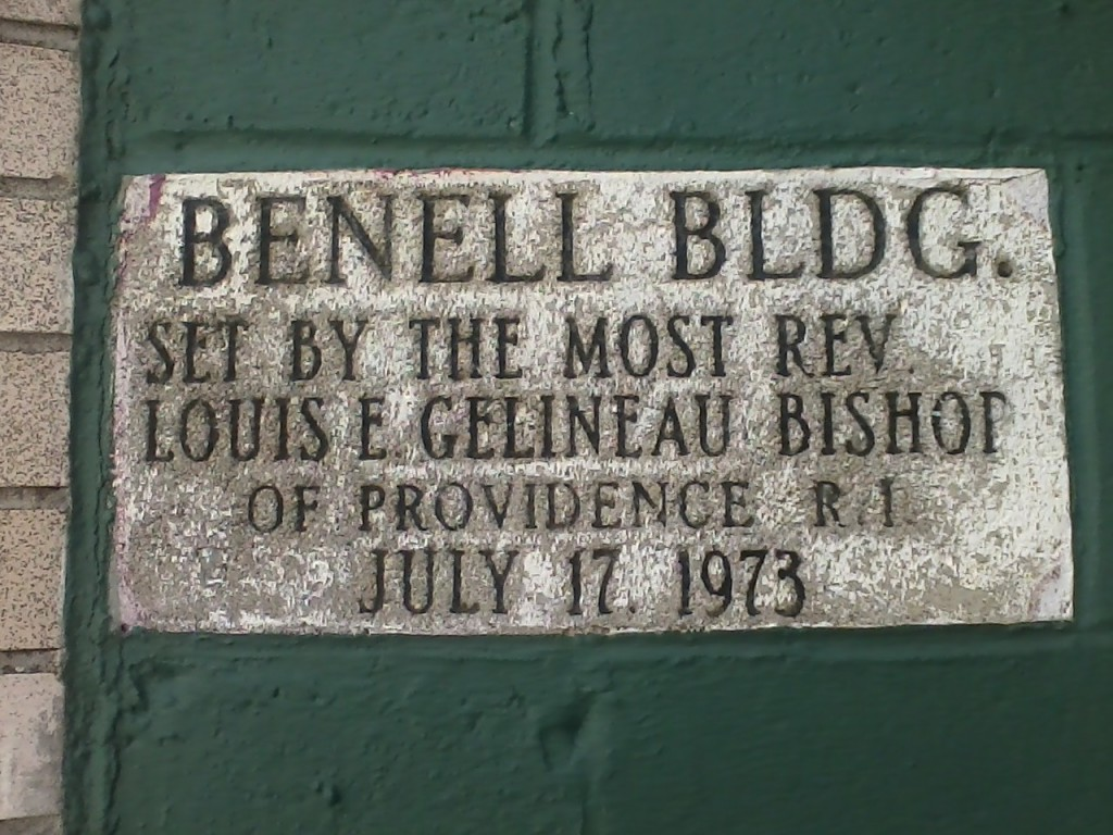 """BENELL BLDG. SET BY THE MOST REV. LOUIS E. GELINEAU BISHOP OF PROVIDENCE R.I. JULY 17, 1973"