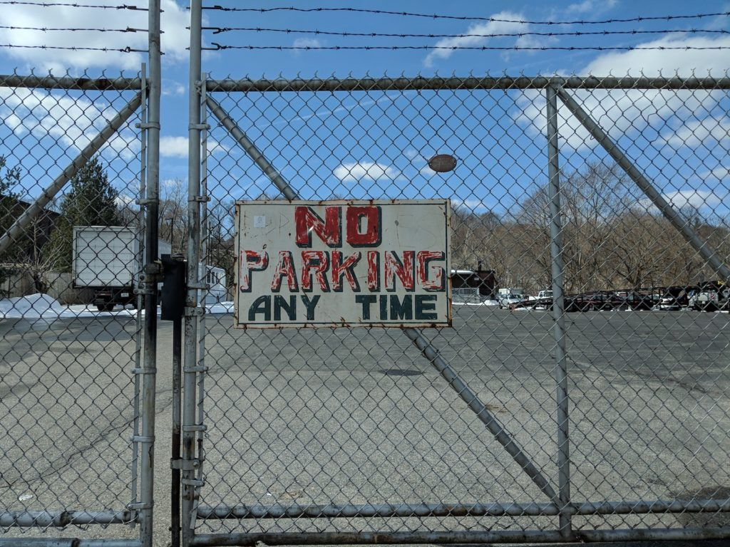 """No Parking Any Time"" sign"